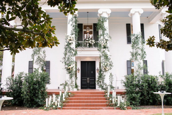 Outside of Woodbine Mansion set up as wedding venue in Austin